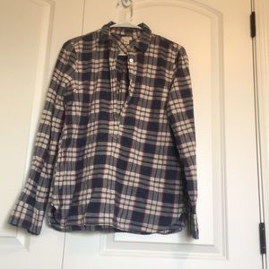 J Crew Flannel half button you